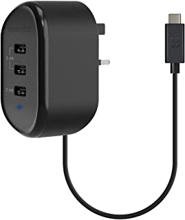 Promate Wall Charger, Portable High Output 4.8A 3 USB Charger Ports with Durable Type-C Power Cord and Foldable Plug Adapt...