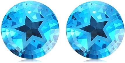 Mysticdrop 5.09-6.10 Cts of 8 mm Texas Star AAA Matching Loose Swiss Blue Topaz (2 pcs) Gemstones