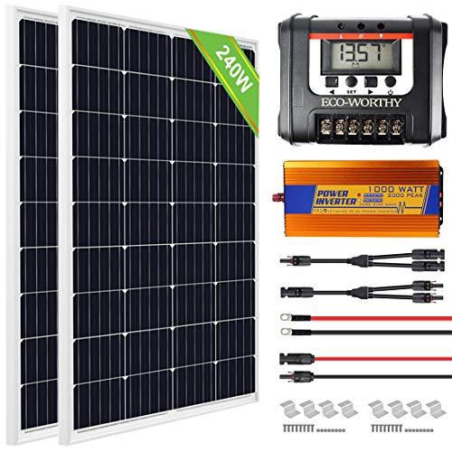 ECO-WORTHY Kit avanzado de panel solar de 240 vatios: 2 PCS Panel solar de 120 vatios + controlador de carga solar de 30 amperios + 1000W 12V-220V Inversor fuera de la red para