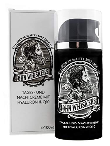 John Whiskers Tages- und Nachtcreme – Made in Germany – mit Hyaluron...
