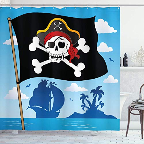 MMPTn Piraten Duschvorhang Warnschild Vorsicht vor Piraten Schädel mit Hut Logo auf der Rückseite der einsamen Insel 71x71 Zoll wasserdichtes Gewebe mit zwölf Kunststoffhaken