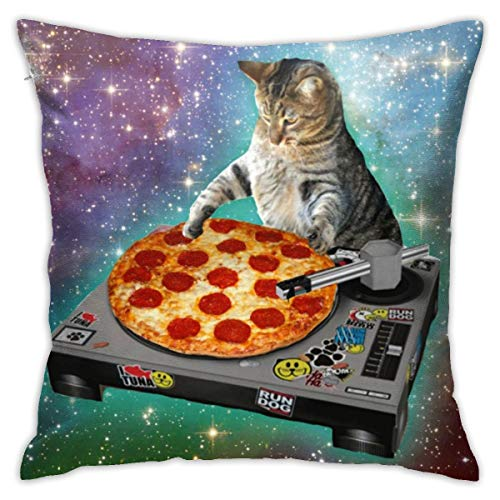 Yaateeh Food Funny Dj Pizza Cat Galaxy Throw Pillow Covers Decorative 18x18 Inch Pillowcase Square Cushion Cases for Home Sofa Bedroom Livingroom