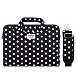 MOSISO Funda Protectora Compatible con 13-13.3 Pulgadas MacBook Air/MacBook Pro Retina/Surface Laptop/Book, Bolsa de Hombro Patrón Maletín Bandolera con Cinturón de Carro, Base Negro Puntos