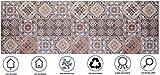 Baroni Tappeto Passatoia da Cucina 60x180 Cm Decoro Maioliche Colorato in PVC Antiscivolo Lavabile