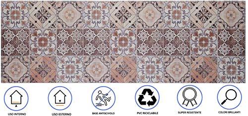 Baroni Tappeto Passatoia da Cucina 60x180 Cm Decoro Maioliche Colorato in PVC Antiscivolo da Interno ed Esterno