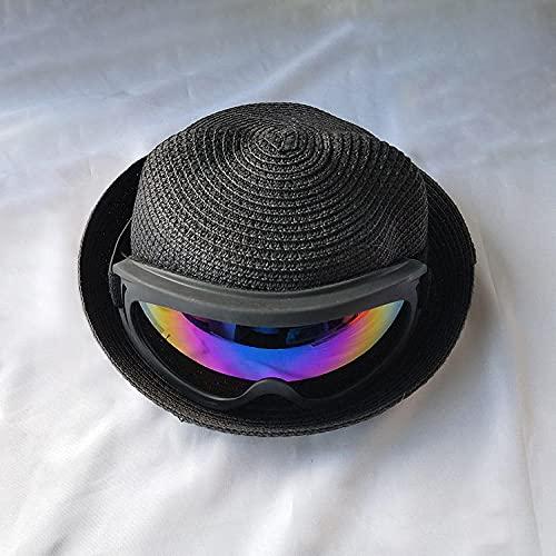YFZCLYZAXET Sombreros De Paja Gorra De Mujer Gafas Sombreros para El Sol Orejas De Gato Niños Niñas con Gafas De Sol Sombrero De Paja De Cubo De Playa Sombrero De Verano Informal-3_Jeden_Rozmiar