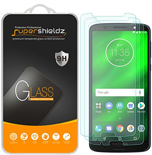 (3 Pack) Supershieldz for Motorola (Moto G6 Plus) Tempered Glass Screen Protector, Anti Scratch, Bubble Free
