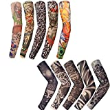 Satisfounder 10 Pcs Set Arts Temporary Tattoo Arm Sunscreen Sleeves, Fake Piercings Tattoos Cover Up Sleeves,Designs Tiger, Crown Heart, Skull, Tribal and Etc Unisex Stretchable Cosplay Accessories