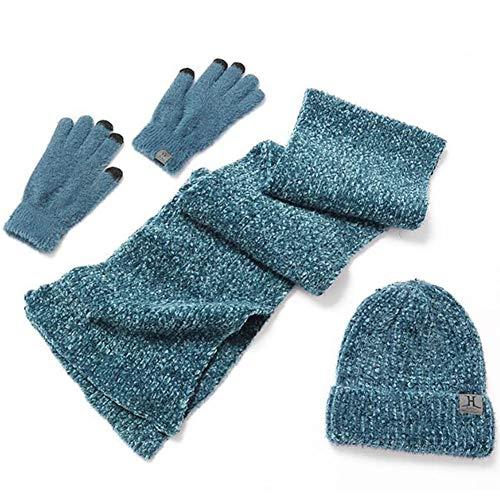 PYapron Unisex Mannen Vrouwen Warm Gebreide Gehaakte Beanie Hoed Infinity Sjaal Handschoenen Sets Dikke hals Warmer Slouchy Sull Cap voor Outdoor Sport Skiën, 3-delige pak