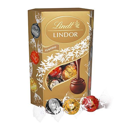 Lindt Lindor – Surtido de bombones con un cremoso corazón de chocolate - Aprox. 16 Bombones, 200g (incluye bombones de chocolate con leche, blanco y negro)