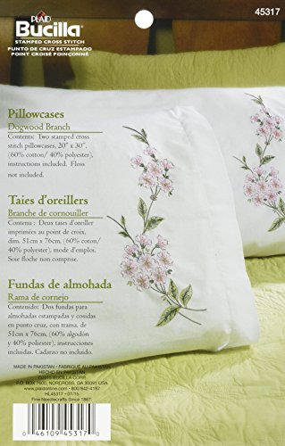 Bucilla Embroidery Pillowcase Pair, 20 by 30-Inch, 45317 Dogwood Branch Stamped (Pack of 2)