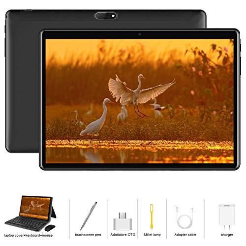 Tablet 10.1 Zoll 4G LTE Android 9.0 Dual SIM, 2 in1 Tablet mit Tastatur 4 GB RAM und 64 GB ROM, Quad Core Prozessor, 1080p Full HD IPS Display, WiFi, Bluetooth, GPS, OTG, Typ C - Schwarz