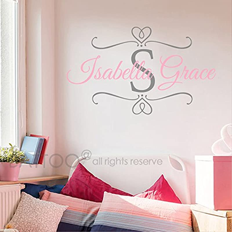 BATTOO Nursery Baby Girl Name Initial Wall Decal Custom Name Decals Monogram Personalized Wall Art Scroll Decal For Girl Bedroom Decor