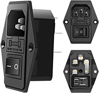 MXRS Inlet Module Plug 5A Fuse Switch Male Power Socket 10A 250V 3 Pin IEC320 C14 (3 Pack)