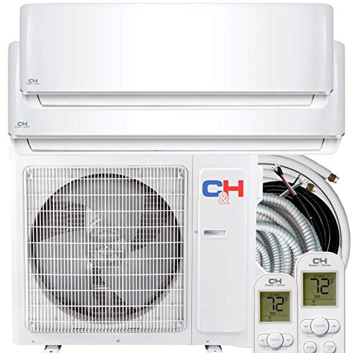 Dual Zone 12000 18000 BTU Ductless Mini Split Air Conditioner Heat Pump Full Set with 25ft Installation Kits