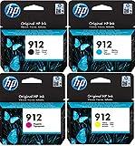 HP 912 - Juego de 4 cartuchos de tinta originales para HP Officejet Pro 8010, 8012, 8014, 8015, 8020, 8022, 8023, 8024 y 8025