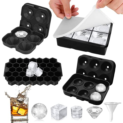 Yaclonq 4 stampi per cubetti di ghiaccio in silicone per congelatore con coperchio, sfera di ghiaccio, forma quadrata grande, taglio diamantato e esagonale, per whisky, riutilizzabile, senza BPA