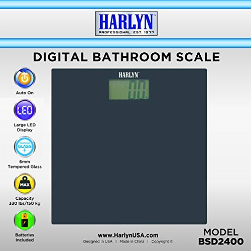 Best Bathroom Scale - Top Digital Weight Scale - Tempered Glass, Elegant Black, Step-on Technology, 330 lbs max Weight by Harlyn
