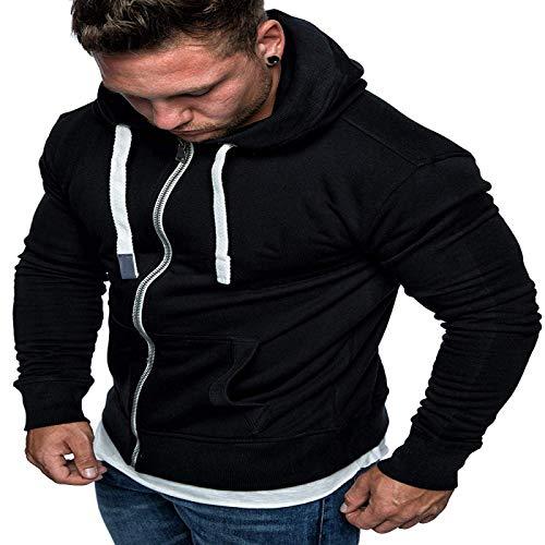 HOSD Nuevo suéter para Hombre, cárdigan de Color sólido con Capucha, suéter de Lana, Chaqueta Informal para Hombre