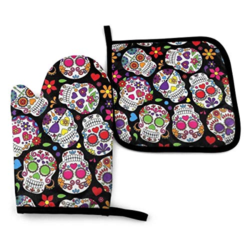 FHTDH Suministros de cocina, guantes de horno y juegos de ollas Dead Sugar Skull Printed Oven Mitts and Pot Holders,Heat Resistant Waterproof Cooking Gloves for Kitchen Cooking Baking,BBQ,Grilling (2-