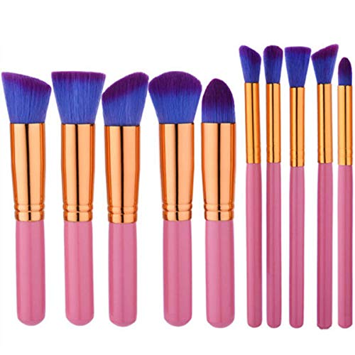 Delighted 10pcs Pink Purple Soft Makeup Brushes Set Kit Eye Shadow Lips Shaping Blending Foundation Powder - 01