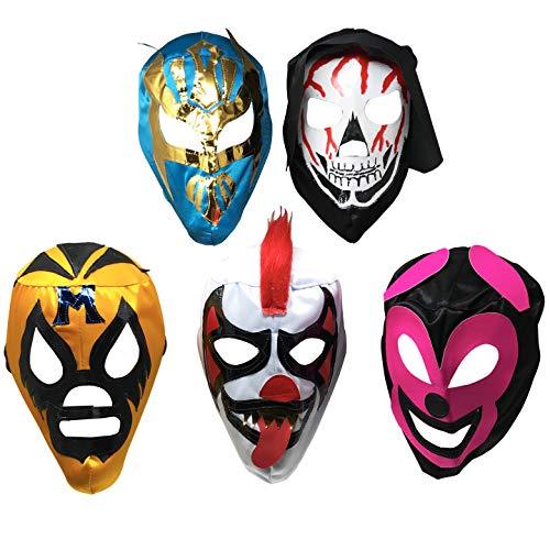 5er-Pack Máscaras de Luchador | verschiedene mexikanische Wrestling-Masken | Ausgezeichnetes Kostüm für mexikanische Fiesta | Lucha-Libre-Maske für Erwachsene | traditionelle Luchador-Maske