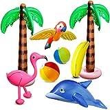aovowog 8 PCS Inflables Palmeras Flamingo Juguetes Inflables Banana Bolas de Playa Volando Loro Delfín para la Decoración del Partido Playa