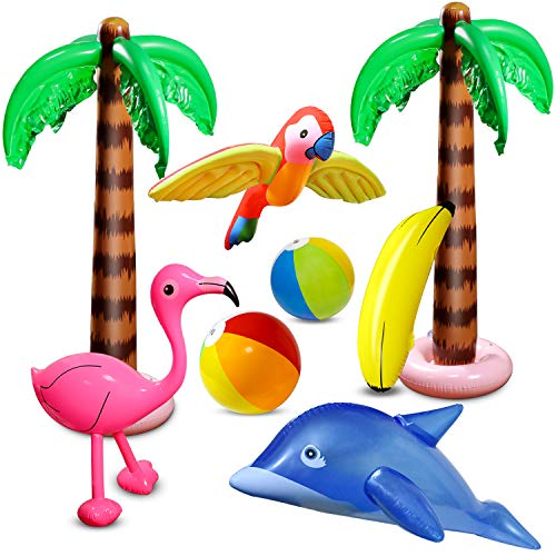 aovowog 8 Stücke Aufblasbare Palmen Flamingo Spielzeug Aufblasbare Bananenstrandbälle Fliegen Papagei Delphin für Hawaii Party Luau Party Decor Strand Hintergrund