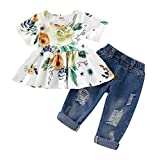 Alwayswin Kleinkind Kinder Outfits Baby Mädchen Kleidung Stickerei T-Shirt Denim Shorts Jeans Set Sommer Baby Kleidung Freizeit Strand Kleidung Mode Elegant Kleidung Set 2-7 Jahre alt (100, Grün)