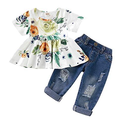 12shage bébés Filles été Floral Rose imprimé Chemise à Manches Courtes Trompette récolte Tops Mode déchiré Denim Pantalon Jean Tenues vêtements Ensembles (Vert, 2-3 Ans)