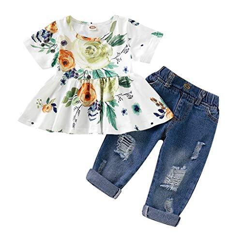 Sale!! Leadmall Baby Clothes Toddler Girls Floral Pant Set 💝 Newborn Bay Crew Neck Swing Tops + L...
