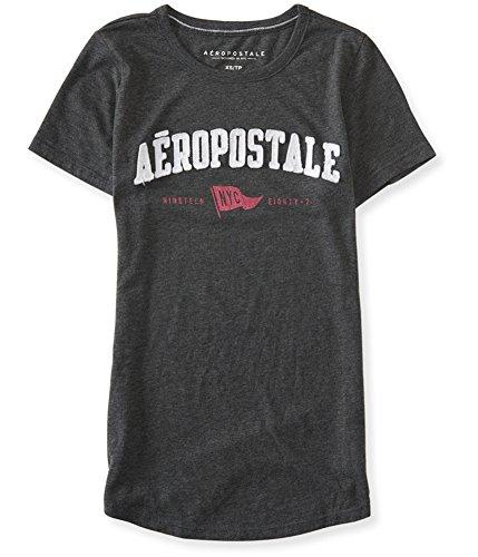 AEROPOSTALE Womens NYC Flag Embellished T-Shirt, Grey, X-Small