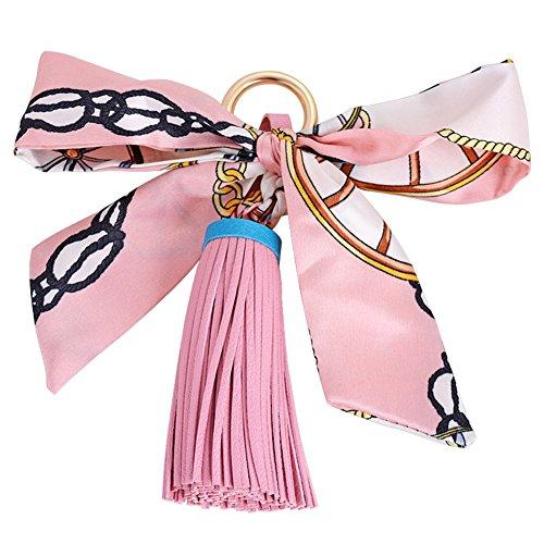 BIGBOBA 1  Llavero de piel con borla colgante para mochila, moneda, llavero, coche, vacaciones, regalo perfecto para vacaciones, color rosa
