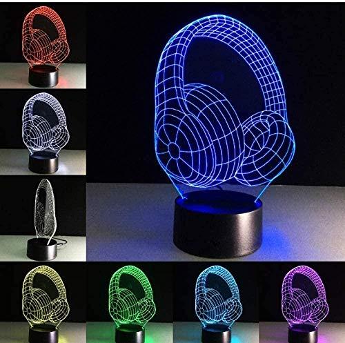 Night Light 3D Stereo Vision Earphone Recording Studio Music Monitor Earphone Colorful Music Earphone Desk lamp Best Creative Night Light