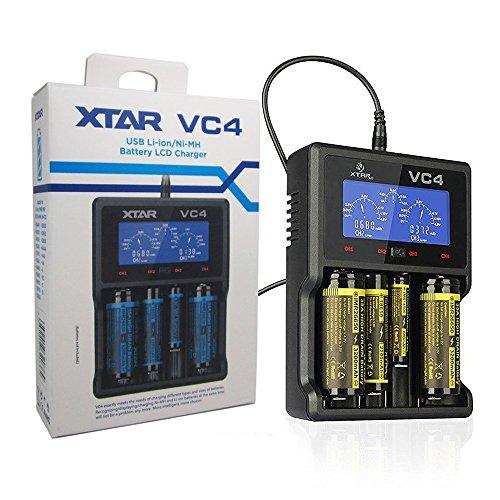 Xtar PS Hunters VC4 Ladegerät Universal Akku Ladegerät Mit LCD Display für 10440 14500 14650 16340 17500 17670 18350 18490 18500 18650 18700 22650 25500 26650 Li-Ionen Akku und NI-MH Akku