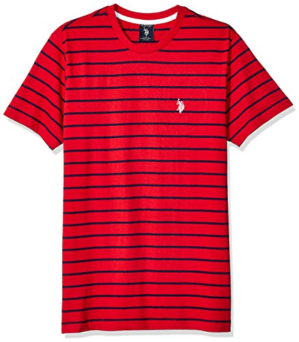U.S. Polo Assn. Men's Thin Stripe Crew Neck T-Shirt, Engine red, M