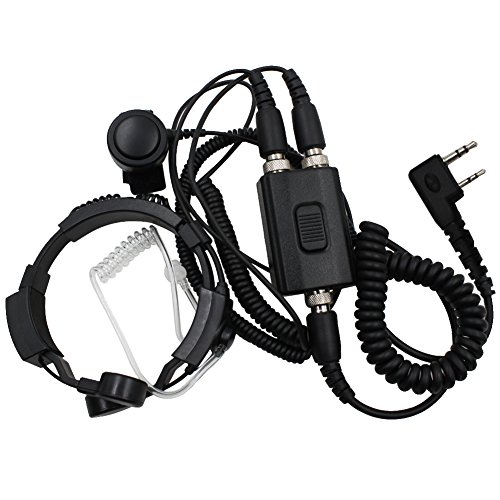 Tenq Professional Tactique Military Police FBI Flexible Throat Mic Microphone Covert Acoustic Tube Earpiece Headset with Finger PTT for Kenwood Pro-Talk XLS TK Two Way Radio 2pin