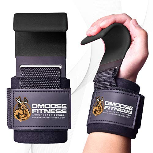 DMoose Fitness Weight Lifting Hooks Grip (Pair) - 8 mm Thick Padded Neoprene, Double Stitching Deadlift Straps for Powerlifting Pull-ups with Premium Workout Hook Gloves