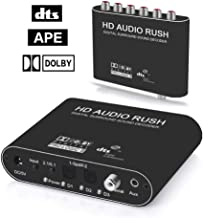 Digitblue 5.1CH AC3/DTS Stereo Audio Decoder, Digital to Analog Audio Sound Decoder Converter Optical SPDIF Coaxial Dolby AC3 DTS Stereo(R/L) to 5.1CH Analog Audio (6RCA Output)