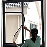 BASHI Malla de ventana con cremallera, malla de protección de ventana para gato, mosquitera autoadhesiva, malla antimosquitos, corte a medida