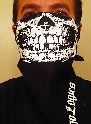 Premium Detailed white half skull mask High material Max 66% OFF biker rave black bandana