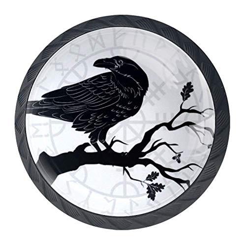 Zwarte kraai zittend op tak van eiken boom en Scandinavische runen kast dressoir knoppen 4 Stks lade deur Pull handgrepen voor keuken badkamer unieke ladeknoppen