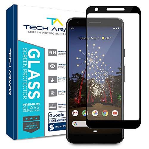 Tech Armor Edge to Edge Ballistic Glass Screen Protector for Google Pixel 3a XL (Black) [2-Pack]