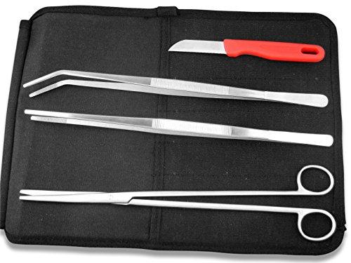 BBQ Edelstahl Grill Werkzeug Set Grillzange mit Küchenmesser aus Solingen Grillpinzette 30 cm Fleischzange Wurstzange Schere