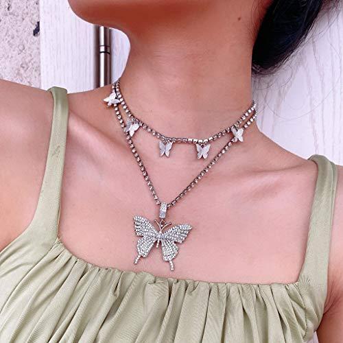 LAOLEE 2 colgantes de mariposa de cristal brillante, circonita cúbica 3D con colgante de mariposa, collar personalizado para hombre y mujer