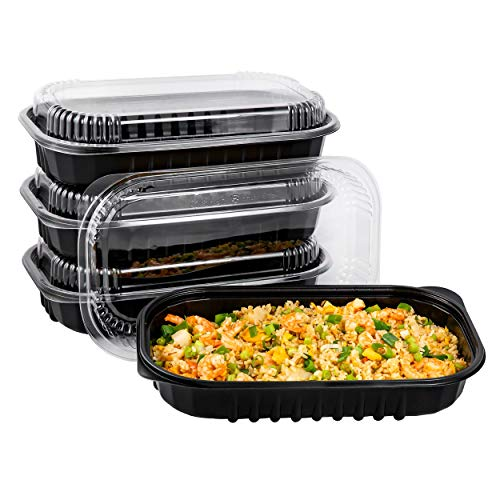 50 Pack Disposable Meal Prep Containers 68oz with Lid, To Go Take Out Box for Chicken Wing, Pasta in Restaurant, Supermarket, Catering, BBQ and Party | BPA Free | Stackable | Microwave/Freezer Safe