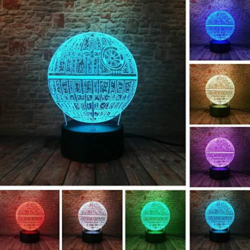 LED Smart Bluetooth Nachttisch LampStar Wars Force weckt den Todesstern DS-1 Plattform Ultimative Waffe 3D 7 Farbwechsel Nachtlicht Kinderspielzeug Weihnachtsgeschenke