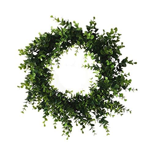 Cgration Künstliche Blumen Grün Weihnachtskranz Frühlingskranz Outdoor für Haustür Wand Fenster Party Hochzeit Dekor