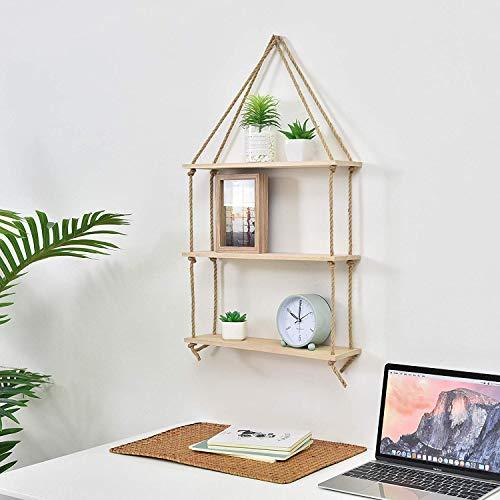 Prime Decor Light Wood Swing Storage Shelves - Jute Rope Organizer Rack - Rustic Home Decor Bookshelf - Window Plant Shelves - Floating Collectibles Display - Decorative
