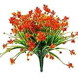 LovePlanet jonquilles artificielles Fausses Fleurs , 4 Faisceaux Jaune résistant aux UV Faux Verdure Feuillage Plantes arbustes pour Jardin , Plein air Maison Jardin décoration de Mariage (Rouge)